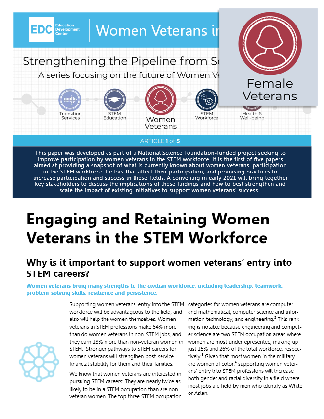 Engaging and Retaining Women Veterans in the STEM Workforce