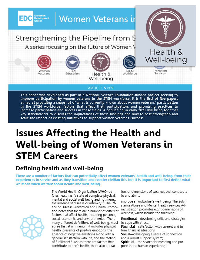 Issues Affecting the Health and Well-being of Women Veterans